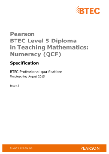 BTEC Level 5 Diploma in Teaching Mathematics: Numeracy specification