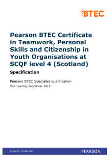 BTEC Level 4 Specialist in Teamwork, Personal Skills and Citizenship for Youth Organisations (Scotland) specification