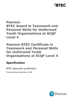 Specification - BTEC Teamwork and Personal Skills for Uniformed Youth Organisations at SCQF Level 4