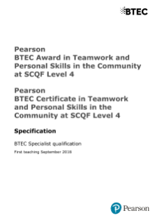 Specification - BTEC Teamwork and Personal Skills in the Community at SCQF Level 4