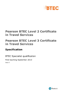 BTEC Level 3 Certificate in Travel Services specification