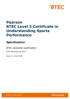 BTEC Level 3 Certificate in Understanding Sports Performance specification