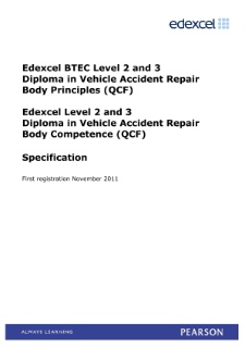 BTEC Level 3 Diploma in Vehicle Accident Repair Body Principles specification