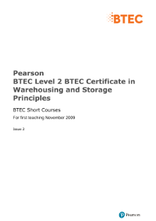 BTEC Specialist | Warehousing and Storage Principles (L2