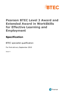 BTEC Level 3 WorkSkills for Effective Learning and Employment specification