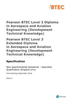 BTEC Level 3 Diploma in Aerospace and Aviation Engineering (Development Technical Knowledge) specification