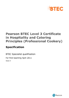 BTEC Level 3 Certificate in Hospitality and Catering Principles (Professional Cookery) specification