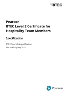 Pearson BTEC Level 2 Certificate for Hospitality Team Members - Specification