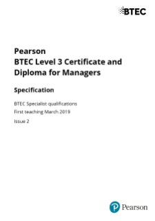 BTEC Level 3 Managers specification