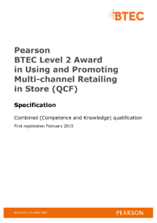 BTEC Level 2 in Retail Knowledge specification