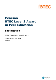 BTEC Level 2 Award in Peer Education specification