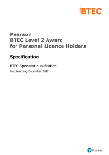 Personal Licence Holders L2 pre-publication draft specification