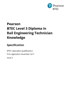 BTEC Level 3 Diploma in Rail Engineering Technician Knowledge