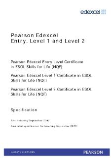 ESOL (NQF) Level 1 | Pearson qualifications