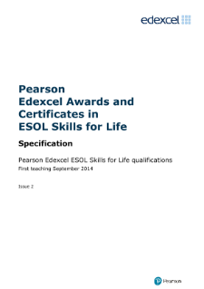 Pearson Edexcel ESOL Skills for Life specification