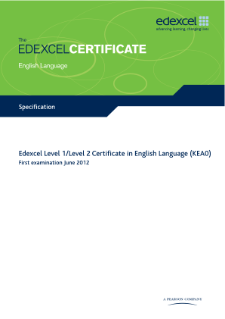 Edexcel Certificate in English Language specification