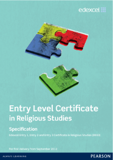 Edexcel Entry Level Certificate in Religious Studies specification