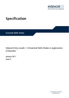 Edexcel Essential Skills Wales in Application of Number Entry Levels 1-3 specification