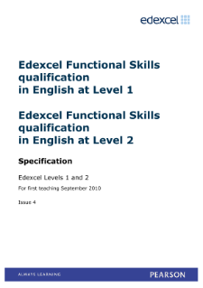 Pearson Edexcel Functional Skills in English Level 1 and 2 - specification