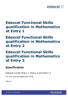 Edexcel Functional Skills in Mathematics Entry Levels 1, 2 and 3 specification