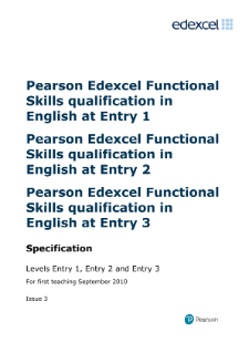 Edexcel Functional Skills in English Entry Levels 1, 2 and 3 specification