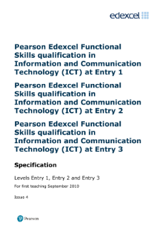 Edexcel Functional Skills in ICT Entry Levels 1, 2 and 3 specification