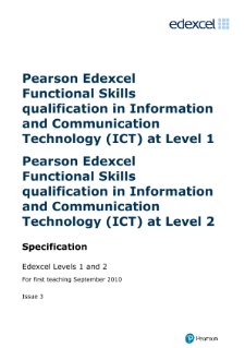 Edexcel Functional Skills in ICT Levels 1 and 2 specification