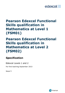 Edexcel Functional Skills in Mathematics Levels 1 and 2 specification