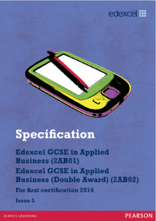 Edexcel GCSE Applied Business 2012 specification