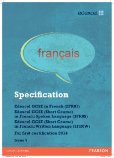 Edexcel GCSE French 2012 specification