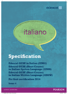 Edexcel GCSE Italian 2012 specification