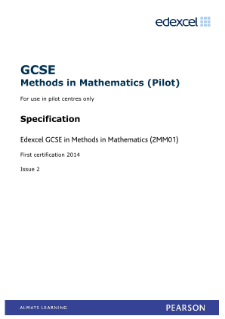 Methods in Mathematics specification