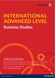 edexcel international advanced level business studies pearson