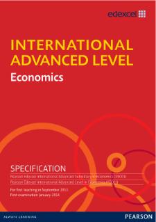 edexcel international advanced level economics pearson qualifications