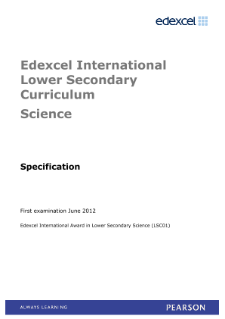 Edexcel International Award in Lower Secondary Science specification
