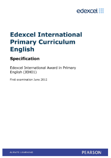 Edexcel International Award in Primary English specification