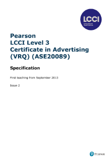 LCCI Level 3 Certificate in Advertising (2013) syllabus