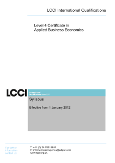 LCCI Level 4 Certificate in Applied Business Economics syllabus