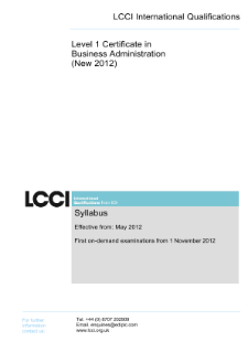 LCCI Level 1 Certificate in Business Administration (2012) syllabus