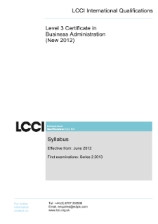 LCCI Level 3 Certificate in Business Administration (2012) syllabus