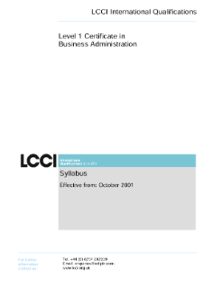 LCCI Level 1 Certificate in Business Administration syllabus