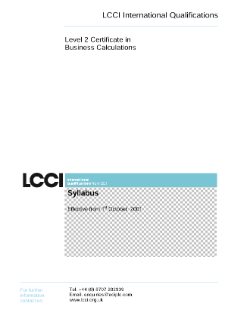 LCCI Level 2 Certificate in Business Calculations syllabus