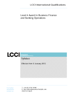 LCCI Level 4 Award in Business Finance and Banking Operations syllabus