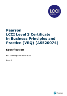 LCCI Level 3 Certificate in Business Principles and Practice (VRQ) syllabus
