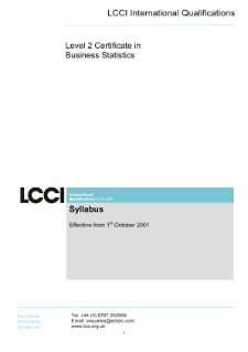 LCCI Level 2 Certificate in Business Statistics syllabus
