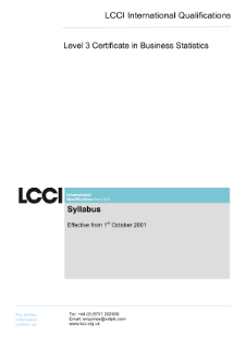 LCCI Level 3 Certificate in Business Statistics syllabus