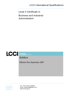 LCCI Level 3 Certificate in Business and Industrial Administration syllabus