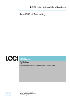 LCCI Level 3 Certificate in Cost Accounting syllabus