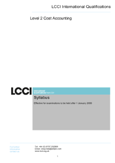 LCCI Level 2 Certificate in Cost Accounting syllabus