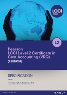 LCCI Level 2 Certificate in Cost Accounting specification